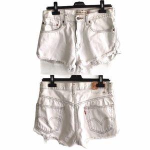 LEVI's 505 Vintage High Waisted Denim Shorts White